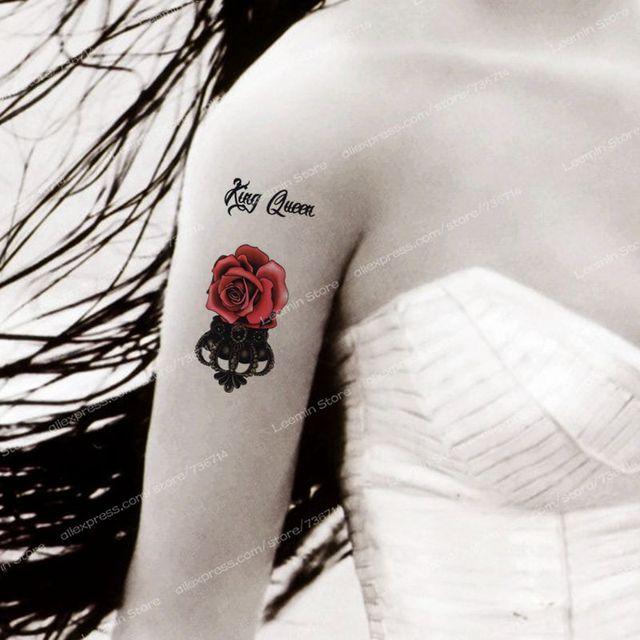 Rouge Fleur Couronne Tatouage Temporaire Reine Et Roi Taty Dans