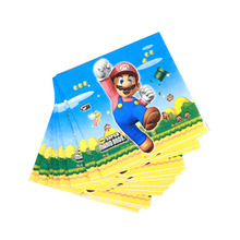 20pcs/lot New Super Mario theme party cups paper Napkin kids birthday decorations Bros supplies