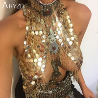 AKYZO Festival Club Party Tank Women Sexy Handmade Acrylic Sequins Body Metal Chain Halter Camis Top Silver Gold
