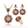 Hot Sale Retro Red Crystal Jewelry Sets Pendant/ Earrings/ Ring Per Set  Antique Gold Plated Flowers Shape Bridal Jewelry Sets