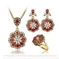 Venda quente Retro Cristal Vermelho Conjuntos de Jóias Pingente/Brincos/Anel Por Conjunto Flores Forma Antigo Banhado A Ouro Nupcial Conjuntos de jóias