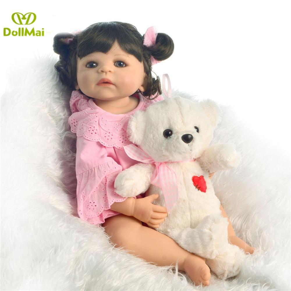 55 cm lisse silicone vinyle fille boneca cheveux bouclés bebes renaître bambin bébé poupées lol original enfants préféré jouet cadeau d'anniversaire