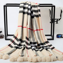 England B family classic college style sub rabbit fur ball warm cashmere scarves Ms. oversized shawl collar
