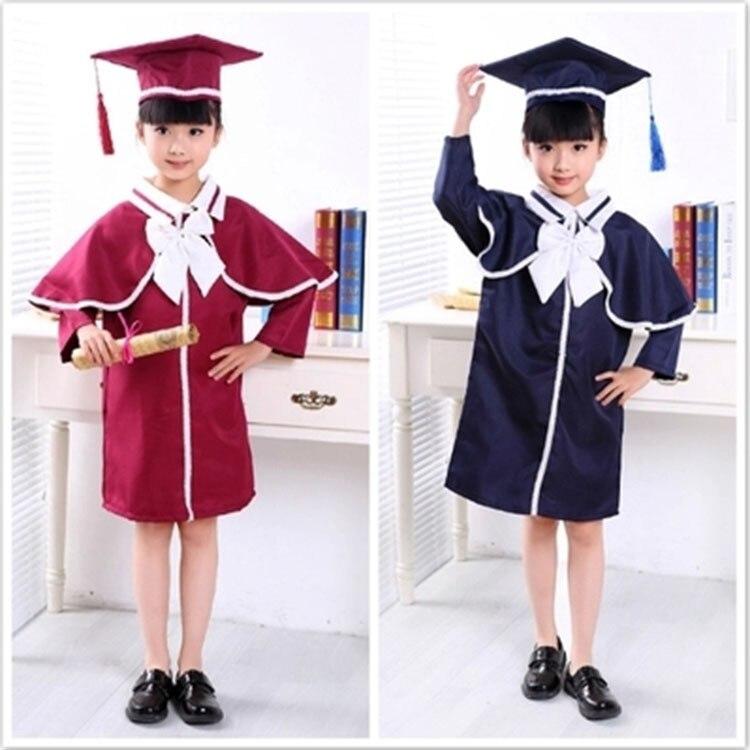 New Children Student Academic Dress School Uniforms Kid Graduation Costumes Kindergarten Girl Boy Dr Suit Doctor Suits With Hat