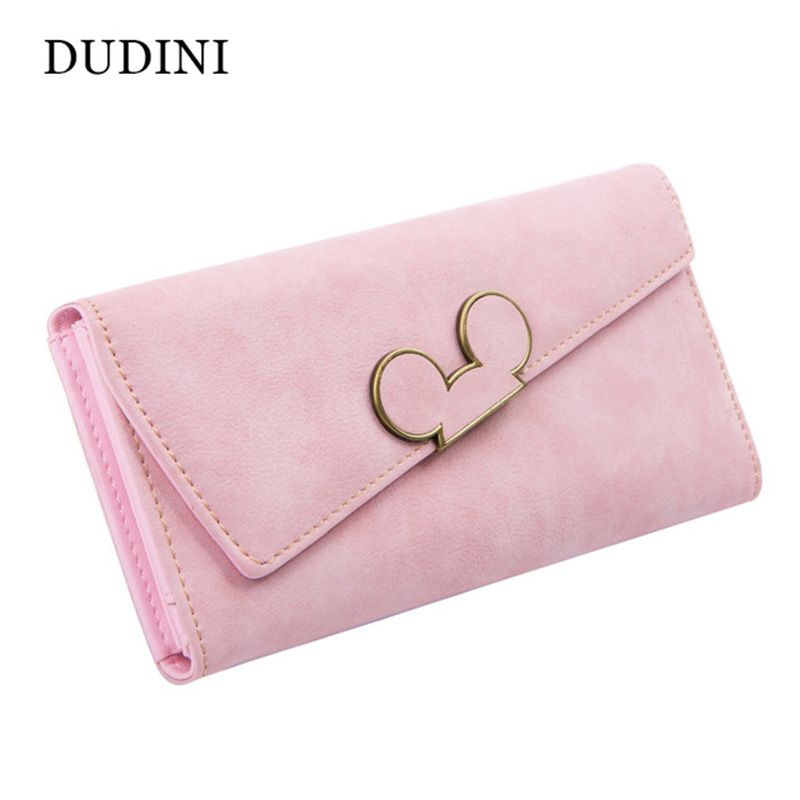 DUDINI High Fashion Women Wallet Scrub Hit Color Lnclined Lis