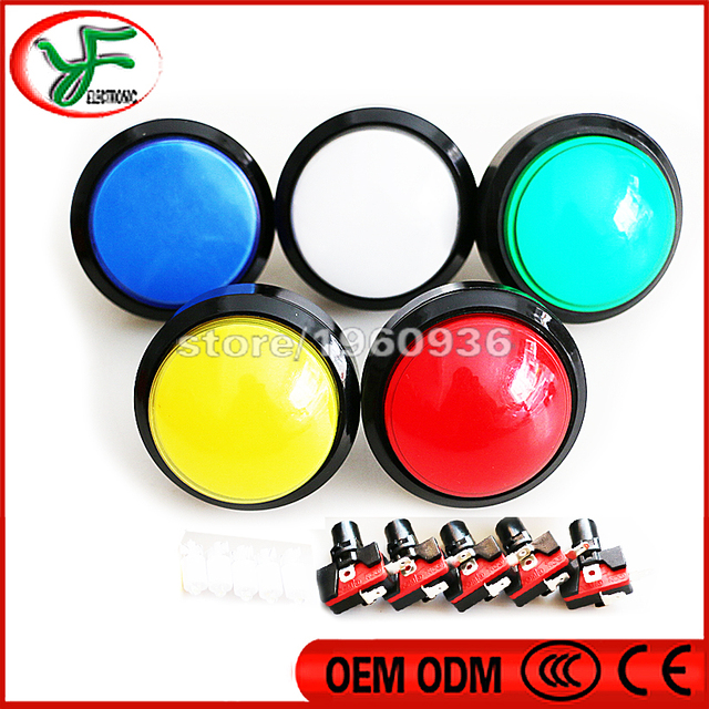 Free shipping 5pcs 100MM LED Light Lamp Arcade push button Big Round Arcade Video Game Player Push Button+ microswitch+stents
