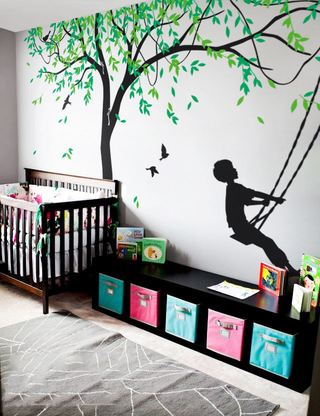 Grand Saule Arbre Vinyle Decal Art Décor de Nurserie Mur Revêtement Mural Garçons Swing Wall Sticker Pour Enfants Chambre Creative Murales LC592