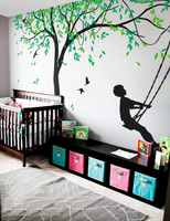 Large Willow Tree Vinyl Decal Art Nursery Wall Decor Wallcovering Boys Swing Wall Sticker For Kids Bedroom Creative Murals LC592