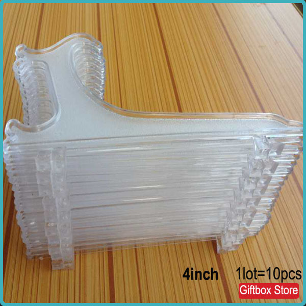 10pcs/lot)Transparent Clear 4 inch Plastic Display Easel Stand Plate ...