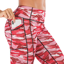 Peach Heart Fitness Leggings With Pockets Women Sexy Sport Pants Camouflage Printing Yoga Leopard Pattern Gym