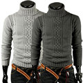 Brand Clothing 2017 Casual Warm Winter Men's Pullover Irregular Patterns Sweater High Collar Turtleneck Knit All-Matched Classic