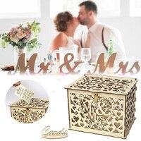 لتقوم بها بنفسك الزفاف صندوق بطاقات هدايا حصالة خشبية مع قفل رومانسية الزفاف لوازم الديكور لحفل عيد ميلاد لتقوم بها بنفسك علبة كرتون