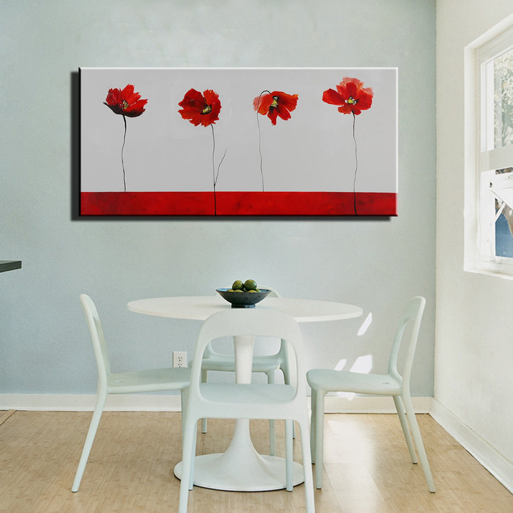 Framed Modern Handmade Canvas Oil Painting Wall Art Home Decor Poppy Flowers