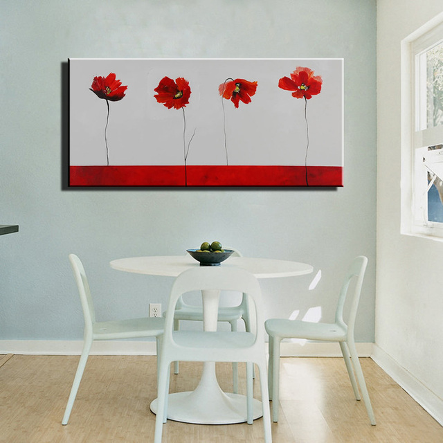 Abstract modern red poppy canvas wall art handmade large decorative ...