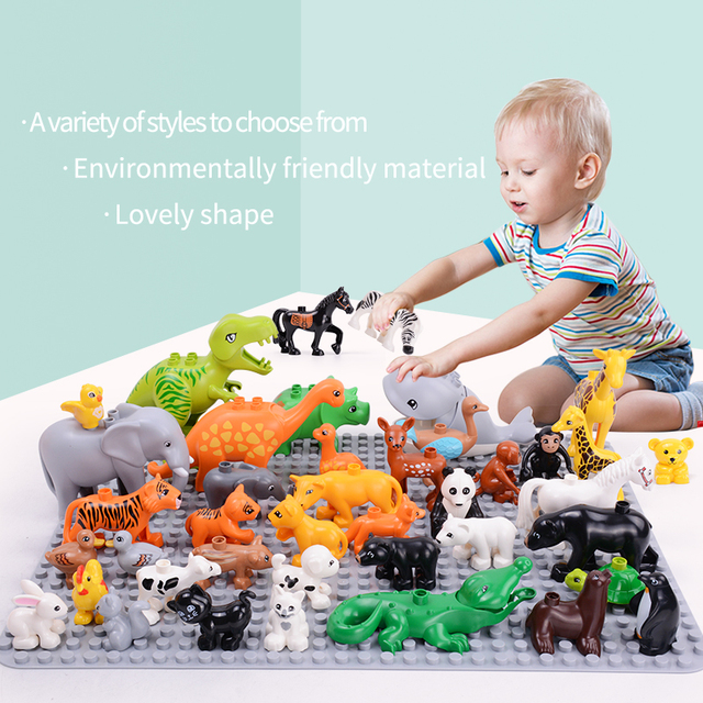 Animals Series big building blocks black cat dog lion and Tiger elephant toys for childrens kids party gift 1