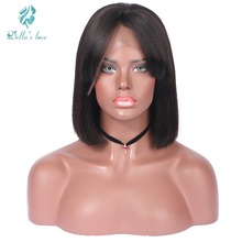 Yaki Lace Front Human Hair Extension Wigs With Bangs For Black Women Brazilian Remy Human Hair Lace Short Bob Wigs Dellas Love