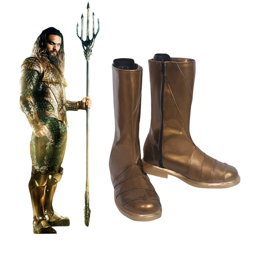Justice League Aquaman Arthur Curry Cosplay Shoes Boots Men's Superhero Halloween Carnival Party Costume Accessories