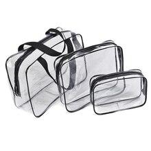 3-en-1 PVC Transparent Cosmétique Fourre-Tout Sac De Toilette Sacs À Main Organisateur de Poche Valise Voyage Cas De Stockage Portable