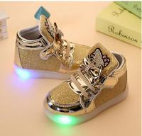 New Children Lighted Casual Shoes High Rhinestone Hello Kitty Shoes For Girls Baby Kids Shoes Mesh