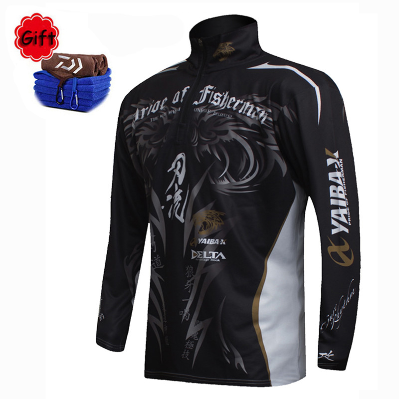 New Fishing Clothes Men Coat Breathable Jacket Quick Dry Long Sleeve Fishing Shirts Zipper Sun Protection Fishing Clothing Towel