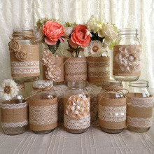 QIFU, 2 M/5 M, rollos de yute de arpillera, cinta de arpillera con encaje, decoración rústica de boda, decoración Vintage, accesorios de mesa, decoración de boda, Bodas