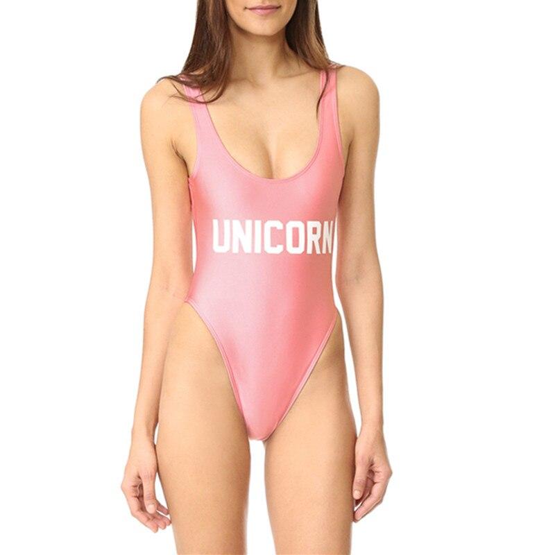 Echoine Unicorn Letter Print Pink One Piece Swimsuit Sexy Backless Women Thong Bikini Monokini Swimwear Bathing Suits Bodysuits
