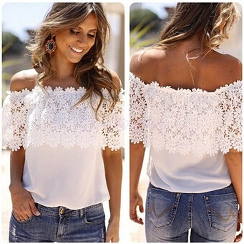 29b2d60b7cb8f7 Women Lace Patchwork Blouse Shirt Casual Off Shoulder Top Sexy Short Sleeve  White Blouse Ladies Summer