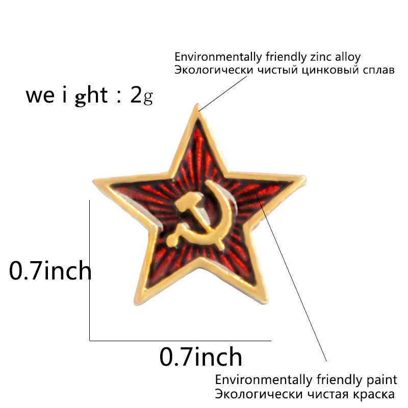 Bintang Merah Palu Arit Komunisme Simbol Uni Soviet Pin Lencana Bros Uni Soviet Marxisme Logo Perhiasan
