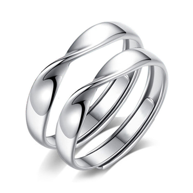 Wave Shaped Couple Ring Mobius Ring Pair Of Mouth Adjustment Ring
