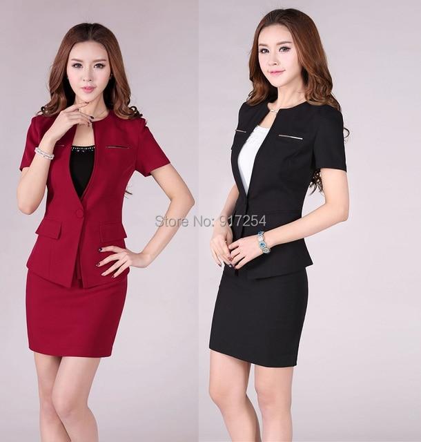 Nueva moda Red 2015 verano profesional Business Women Work Wear carrera juegos de falda uniforme Formal conjuntos más el tamaño XXXL