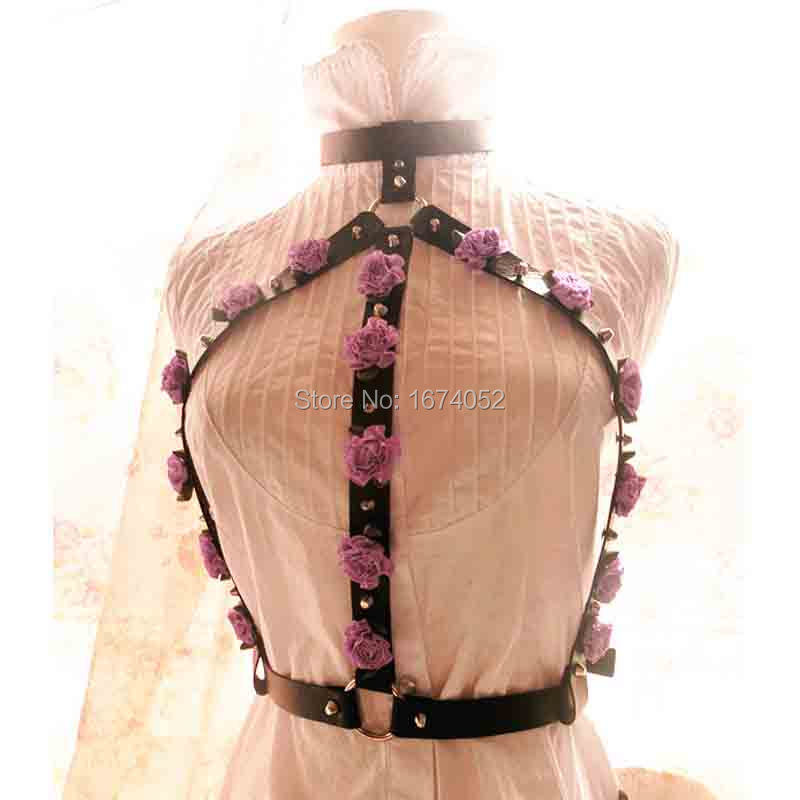 Cute Kawaii Handcrafted Pastel Goth Rose Flower Leather Harness Body Bondage Choker Collar Bra Caged Bustier Corset Belt Straps