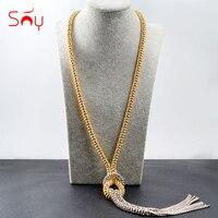 Солнечное ювелирное романтическое Ювелирное Украшение, длинная цепочка, ожерелье для женщин, кулон с кисточками, дутая цепочка, ожерелье s д...