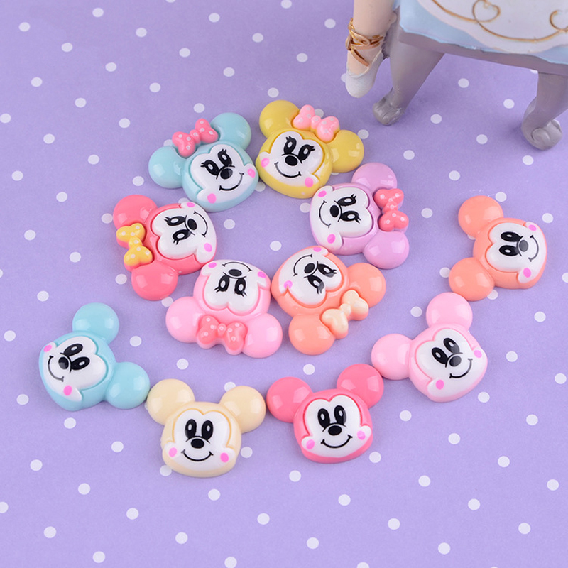 100pcs/Lot 26x22mm Minnie Mickey Mouse Resin Flatback Cabochon DIY Flatbacks Flat Back for Hair Bow Center Embellishment