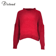 0d189e17de7 Dicloud red oversized sweaters women winter long sleeve jersey coase knitted  pullover crop unif autumn 2018