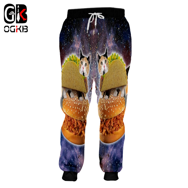 OGKB Women/men's Casual Sweatpants Print Hamburger Alien Cat 3d Sweat Pants Unisex Couple Long Drawstring Haren Joggers Pants