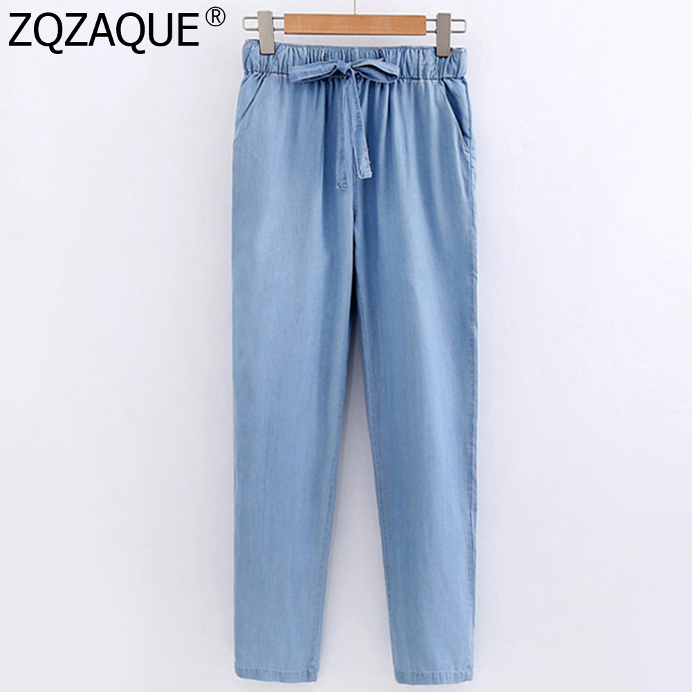 2019 Korean Style Women's Tencel Denim Trousers Ankle-Length Harem Pants Thin Drawstring Pants For Girls Summer Autumn All-Match