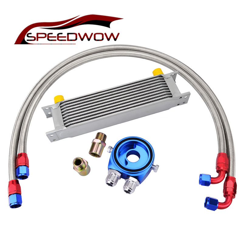 SPEEDWOW 10ROW AN10 Transmission Oil Cooler Kit+Aluminum Oil Filter Cooler Sandwich Adapter+Hose Fitting цена