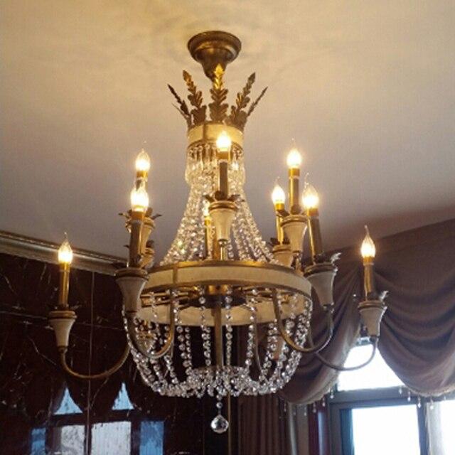 Große Hängende Leuchte Bronze Farbe Für Foyer Flur Mode Große Kristall  Kronleuchter Leuchte Antike Messing Farbe