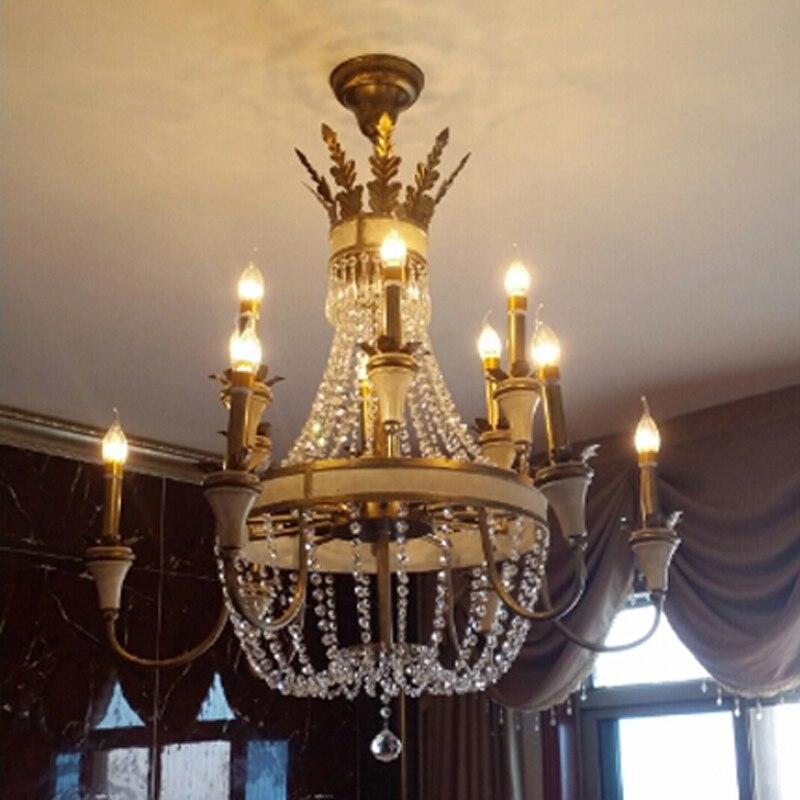 Large hanging Light Fitting Bronze color for Foyer Hallway Fashion Big crystal chandelier lighting fixture antique brass color