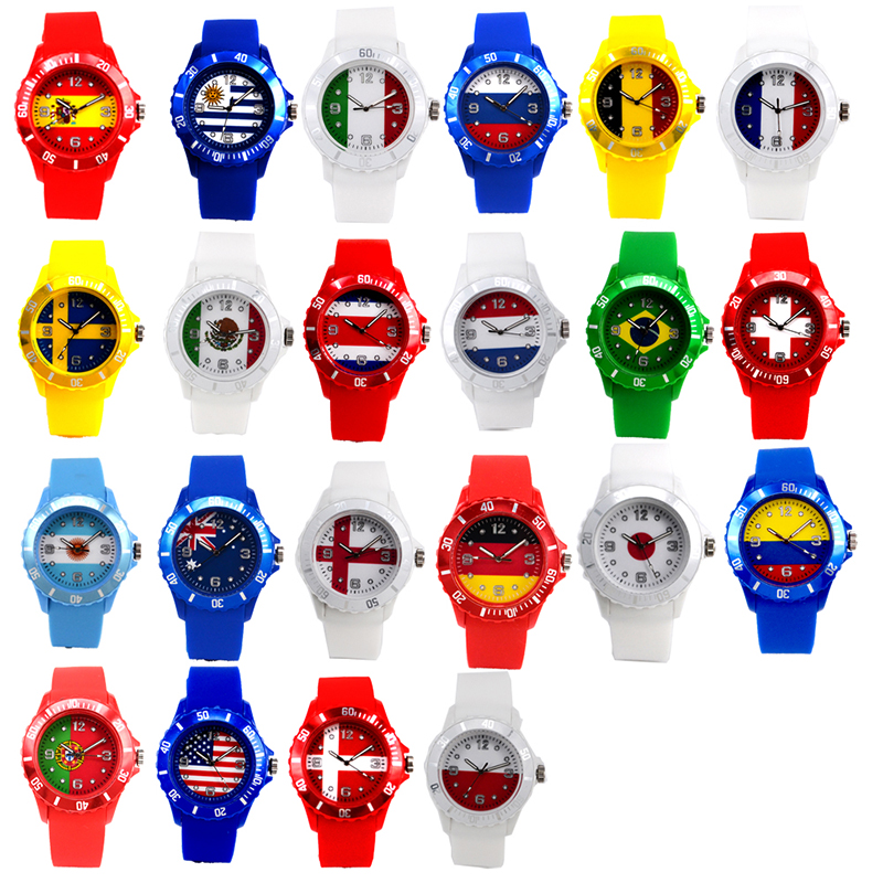 Flag Pattern Watch 2018 Football World Cup Sports Wristwatches Soft Outdoor Portable Watch Fans Gift For Kids Men Women Students