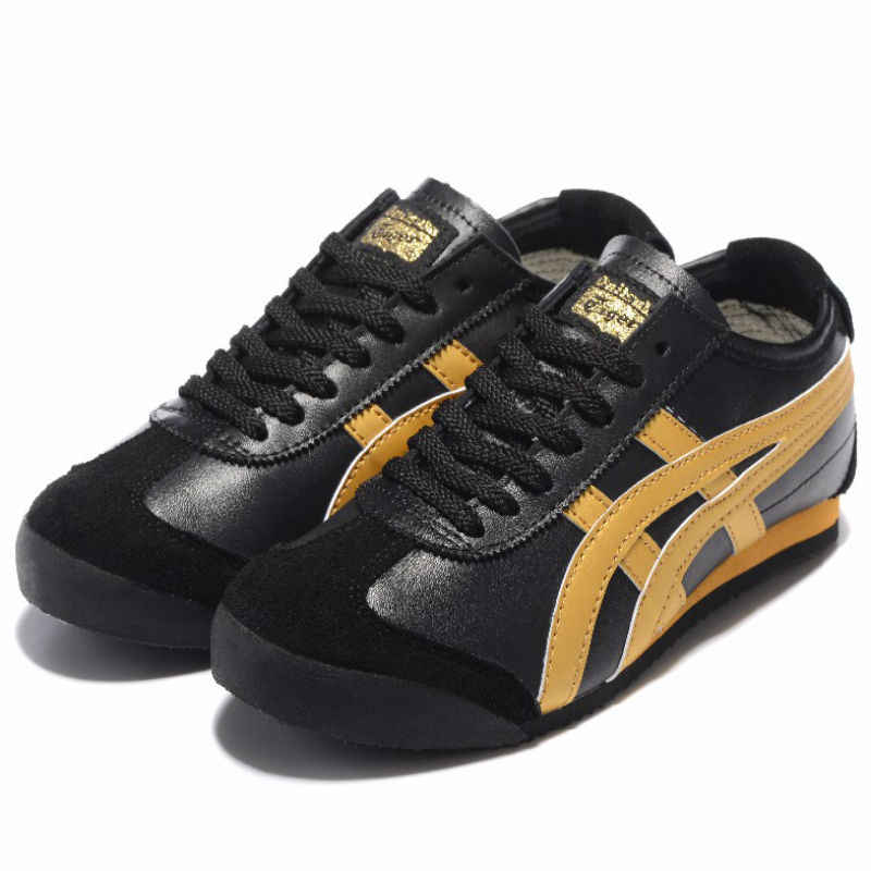 promo code 44d14 b6b77 ONITSUKA TIGER Men's Shoes MEXICO 66 Black Gold Black White Leather Rubber  Anti-slippery Women Sneakers Badminton Shoes