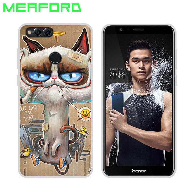 For Huawei Honor 7X Case 5.93 Slim Soft TPU Silicone Back Cover Cute Cartoon Cat Full Protect Cover Case For Honor 7X Coque Case