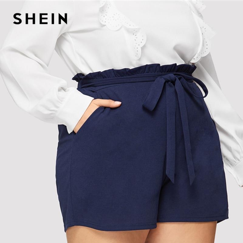 SHEIN Navy Paperbag Waist Slant Pocket Belted Frill Plain Shorts Women Wide Leg 2019 Summer Highstreet Fashion Solid Shorts
