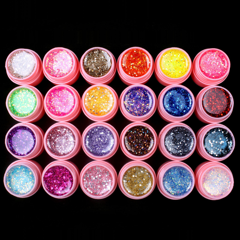UVGL051-24Pcs Mix Color Glitter Hexagon Sheet Nail Art UV Builder Gel