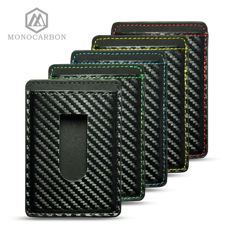Men Carbon Fiber Pattern Credit Card Holders Colorful Stitching Slim Card Holder