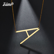 hot deal buy ziime 2018 gold color initial letter necklace choker women a - z shape classic alphabet letter necklaces stainless steel jewelry