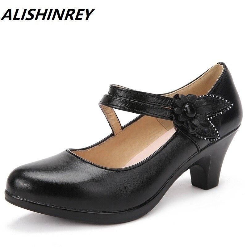 2f4712586ce98e Cuir Bureau Chaussures Lady Confort Plus Casual Femme Travail Noir Mère  Taille Pompes En Femmes 41 ...