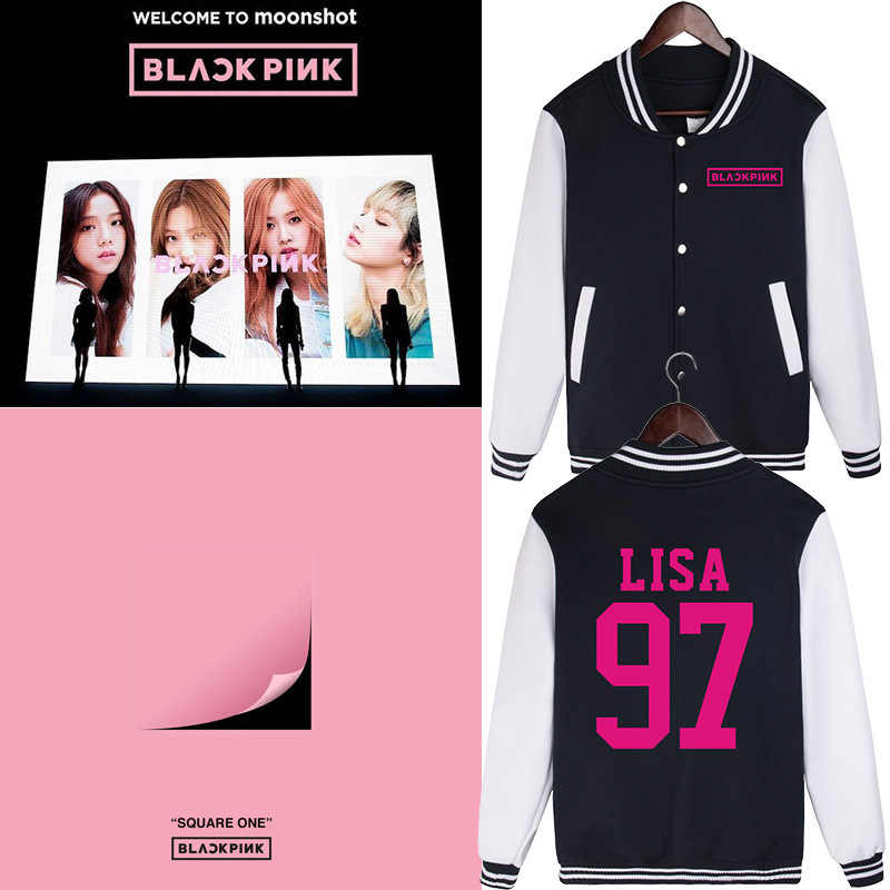 Neue Koreanische Mode Baseball Jacke Schwarz Rosa KPOP Blackpink Harajuku Streetwear Jacke Mäntel Frauen Lange Hülse Übergroßen Hoodie