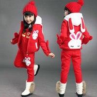 Child winter set sweatshirt girls child autumn and winter thickening cartoon three piece set girls sets