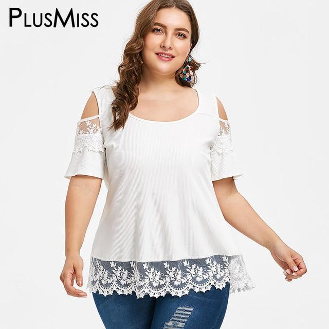 d3ca3c8655b PlusMiss Plus Size 5XL White Floral Lace Sexy Off the Shoulder Tops Women  Summer 2018 Big Size Boho Beach Blouses Ladies Blusas